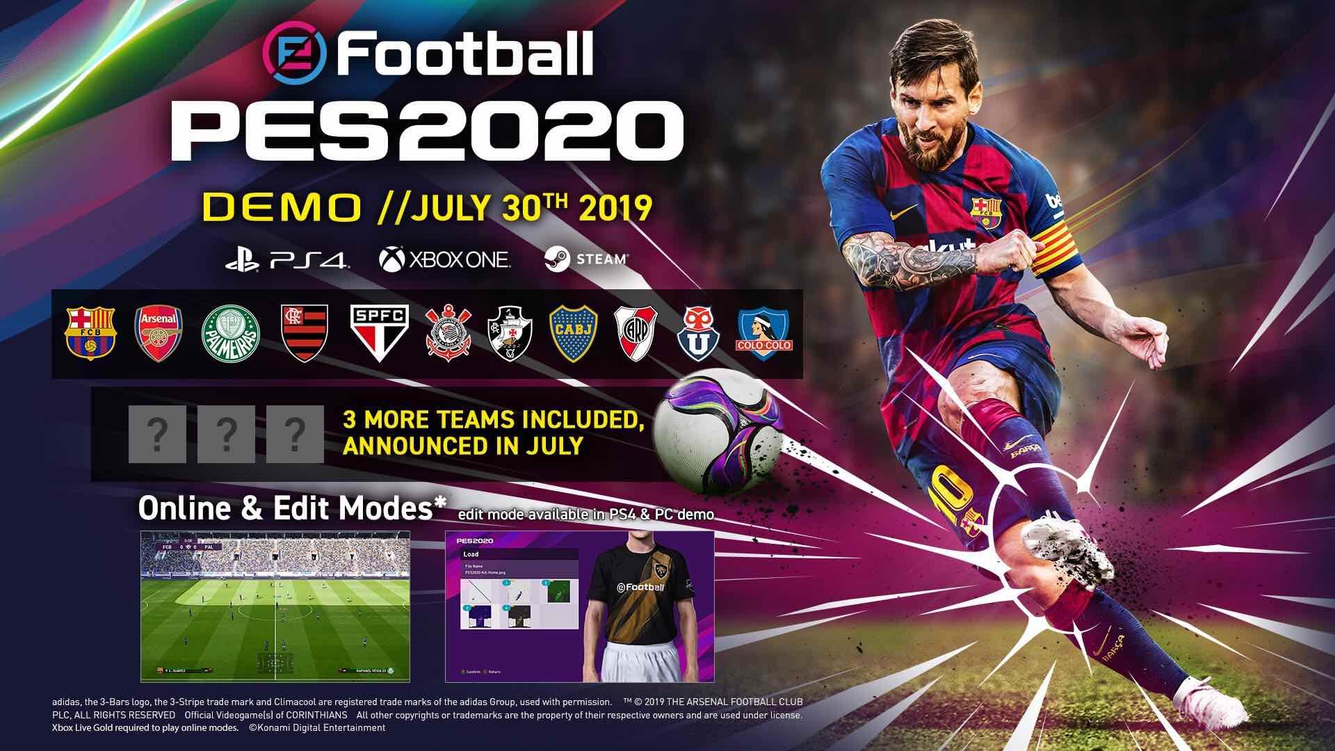 Primeros detalles y fecha para la demo de eFootball PES 2020